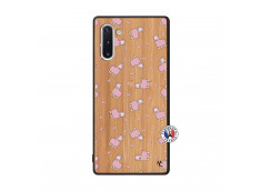 Coque Samsung Galaxy Note 10 Petits Moutons Bois Bamboo