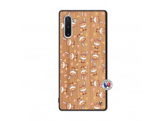 Coque Samsung Galaxy Note 10 Petits Renards Bois Bamboo
