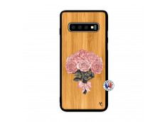 Coque Samsung Galaxy S10 Plus Bouquet de Roses Bois Bamboo