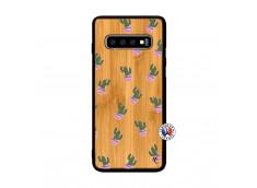 Coque Samsung Galaxy S10 Plus Cactus Pattern Bois Bamboo