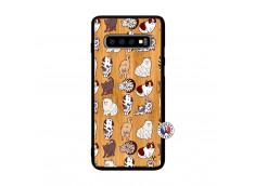 Coque Samsung Galaxy S10 Plus Cat Pattern Bois Bamboo