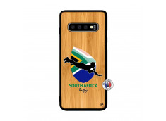 Coque Samsung Galaxy S10 Plus Coupe du Monde Rugby-South Africa Bois Bamboo