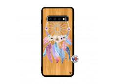 Coque Samsung Galaxy S10 Plus Multicolor Watercolor Floral Dreamcatcher Bois Bamboo