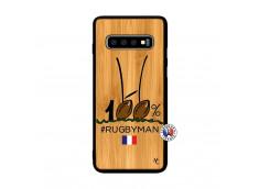 Coque Samsung Galaxy S10 Plus 100 % Rugbyman Entre les Poteaux Bois Bamboo