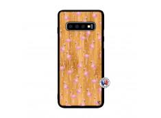 Coque Bois Samsung Galaxy S10 Flamingo