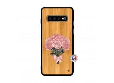 Coque Samsung Galaxy S10 Bouquet de Roses Bois Bamboo