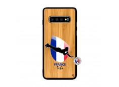 Coque Samsung Galaxy S10 Coupe du Monde de Rugby-France Bois Bamboo