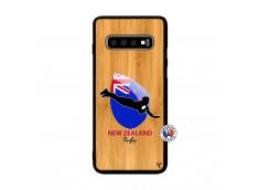 Coque Samsung Galaxy S10 Coupe du Monde Rugby- Nouvelle Zélande Bois Bamboo