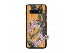 Coque Samsung Galaxy S10 Flower Birds Bois Bamboo
