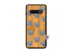 Coque Samsung Galaxy S10 Petits Elephants Bois Bamboo