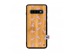 Coque Samsung Galaxy S10 Petits Moutons Bois Bamboo