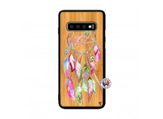 Coque Samsung Galaxy S10 Pink Painted Dreamcatcher Bois Bamboo
