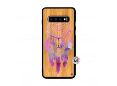 Coque Samsung Galaxy S10 Purple Dreamcatcher Bois Bamboo