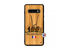 Coque Samsung Galaxy S10 100 % Rugbyman Entre les Poteaux Bois Bamboo