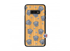 Coque Samsung Galaxy S10e Petits Elephants Bois Bamboo