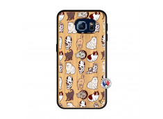 Coque Samsung Galaxy S6 Cat Pattern Bois Bamboo