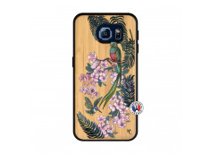 Coque Samsung Galaxy S6 Flower Birds Bois Bamboo
