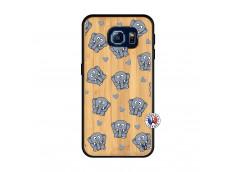 Coque Samsung Galaxy S6 Petits Elephants Bois Bamboo