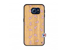 Coque Samsung Galaxy S6 Petits Moutons Bois Bamboo