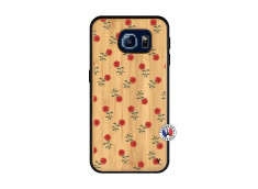 Coque Samsung Galaxy S6 Rose Pattern Bois Bamboo