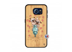 Coque Samsung Galaxy S6 Puppies Love Bois Bamboo