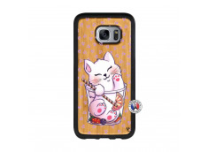 Coque Bois Samsung Galaxy S7 Edge Smoothie Cat