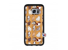 Coque Samsung Galaxy S7 Edge Cat Pattern Bois Bamboo