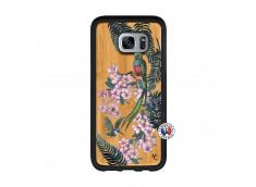 Coque Samsung Galaxy S7 Edge Flower Birds Bois Bamboo