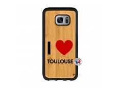 Coque Samsung Galaxy S7 Edge I Love Toulouse Bois Bamboo