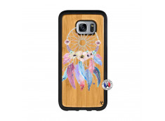 Coque Samsung Galaxy S7 Edge Multicolor Watercolor Floral Dreamcatcher Bois Bamboo