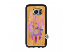 Coque Samsung Galaxy S7 Edge Purple Dreamcatcher Bois Bamboo