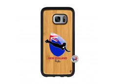 Coque Samsung Galaxy S7 Coupe du Monde Rugby- Nouvelle Zélande Bois Bamboo