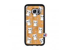 Coque Samsung Galaxy S7 Petits Chats Bois Bamboo