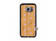 Coque Samsung Galaxy S7 Petits Moutons Bois Bamboo