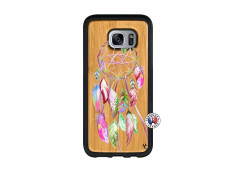 Coque Samsung Galaxy S7 Pink Painted Dreamcatcher Bois Bamboo
