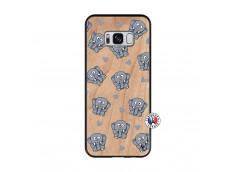 Coque Samsung Galaxy S8 Petits Elephants Bois Bamboo