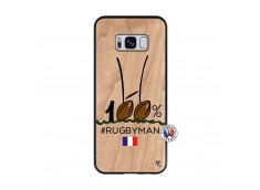 Coque Samsung Galaxy S8 100 % Rugbyman Entre les Poteaux Bois Bamboo