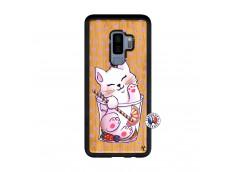 Coque Bois Samsung Galaxy S9 Plus Smoothie Cat