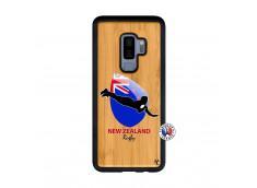Coque Samsung Galaxy S9 Plus Coupe du Monde Rugby- Nouvelle Zélande Bois Bamboo
