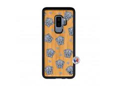 Coque Samsung Galaxy S9 Plus Petits Elephants Bois Bamboo