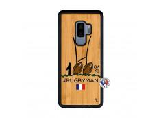 Coque Samsung Galaxy S9 Plus 100 % Rugbyman Entre les Poteaux Bois Bamboo