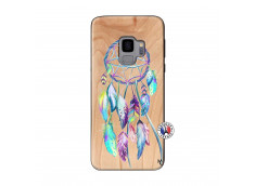 Coque Samsung Galaxy S9 Blue Painted Dreamcatcher Bois Bamboo