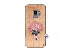 Coque Samsung Galaxy S9 Bouquet de Roses Bois Bamboo