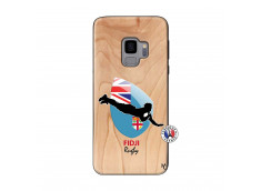 Coque Samsung Galaxy S9 Coupe du Monde Rugby Fidji Bois Bamboo