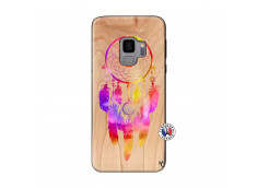 Coque Samsung Galaxy S9 Dreamcatcher Rainbow Feathers Bois Bamboo