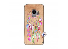 Coque Samsung Galaxy S9 Pink Painted Dreamcatcher Bois Bamboo