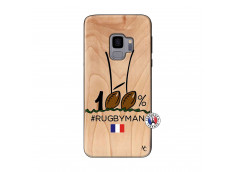 Coque Samsung Galaxy S9 100 % Rugbyman Entre les Poteaux Bois Bamboo
