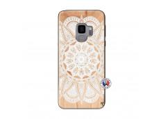Coque Samsung Galaxy S9 White Mandala Bois Bamboo