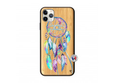 Coque iPhone 11 PRO MAX Blue Painted Dreamcatcher Bois Bamboo