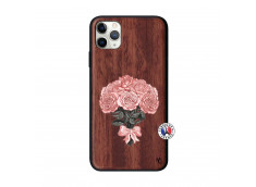 Coque iPhone 11 PRO MAX Bouquet de Roses Bois Walnut